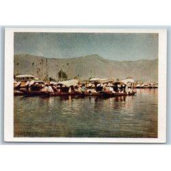 1958 INDIA Shikary BOAT Lake Dal Srinagar Seascape Real Photo Soviet Postcard