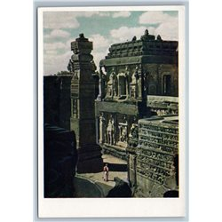 1958 INDIA Kailasanath Temple in Elura Real Photo Soviet USSR Postcard
