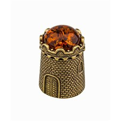 Thimble TOWER Fortress BALTIC AMBER Solid Brass Metal Russian Souvenir Collection