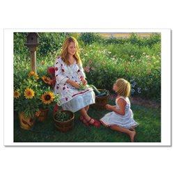 Little GIRL with Woman Garden Harvest by Robert Duncan Russian Modern Postcard