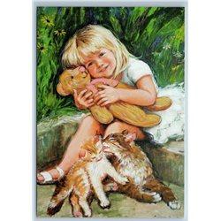 LITTLE GIRL hug TEDDY BEAR Toy and CATS Yard by Simonova Russian New Postcard