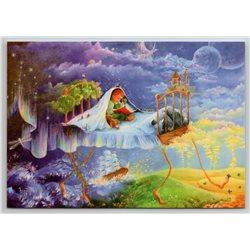 LITTLE BOY read BOOK Teddy Bear Toy Castle Tales Fantasy Russian New Postcard