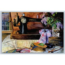 SEWING MACHINE in Home Workshop Sew Lilac Pattern Old Iron New Unposted Postcard