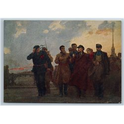 1958 LENIN with Baltic Sea Sailor Workers Before Revolution Soviet USSR Postcard