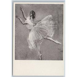 1962 ANNA PAVLOVA Russian Ballerina Ballet Sylph by Serov Soviet USSR Postcard