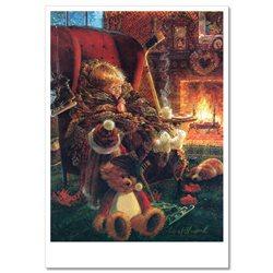 Little BOY in chair with TEDDY Bear Toy Fireplace Hockey Russian Modern Postcard