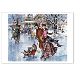Little kids Family on Ice rink Sled Skates USA Russian Modern Postcard 2