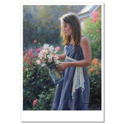 Pretty GIRL in Garden Flowers by Robert Duncan Russian Modern Postcard