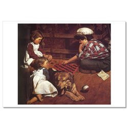 LITTLE BOY & GIRLS play checkers DOG JIM DALY KIDS ART Modern Postcard