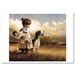 LITTLE GIRL with DOLL Toy DOG haymaking JIM DALY KIDS ART Modern Postcard