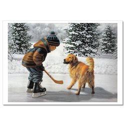 LITTLE BOY play hockey with DOG JIM DALY KIDS ART Modern Postcard