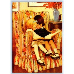 LITTLE GIRL & BOY read Book on Chair by Smith New Unposted Postcard