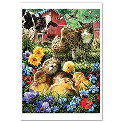 CAT and Kittens Duck ducklings Cow on Farm FUNNY New Unposted Postcard