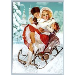 PIN UP RUSSIAN GIRL on Sled MAN Snow Winter Ride New Unposted Postcard