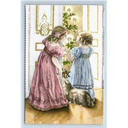 MERRY CHRISTMAS Little Girls w/ Lap Dog Xmas Tree GLITTER Russian New Postcard