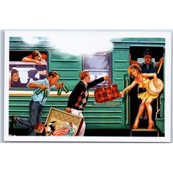 PIN UP GIRL Late for Train Russian Railroad Railway Beer Baggage New Postcard