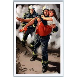 PIN UP GIRL saved by firefighters Fireman Fire department New Postcard