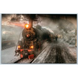 OLD SOVIET STEAM LOCOMOTIVE railway station Railroad Russian New Postcard
