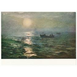 """1957 Uutmaa """"Night sea"""" Socialist Realism Russian old postcard"""